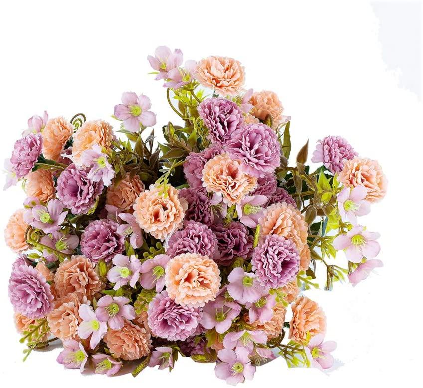Artificial Flower Bouquets, Fake Lilac Flowers, Silk Bouquet Flowers, Realistic Flower Centerpiece Arrangements for Festival Home Party Wedding Decoration Pack of 5 (Russet-red)
