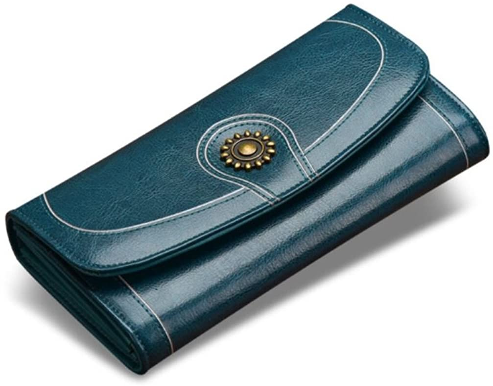 JeHouze Fashion Women Genuine Leather Wallet Sunflower Clutch Purse