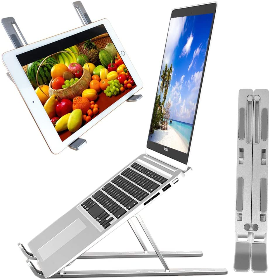 "Laptop Stand Portable Aluminum Stand Adjustable Laptop Stand Computer Stand Desktop Holder for MacBook Air Pro Dell XPS Sony HP Lenovo 10-15.6"" All Tablet iPad (Silver)"