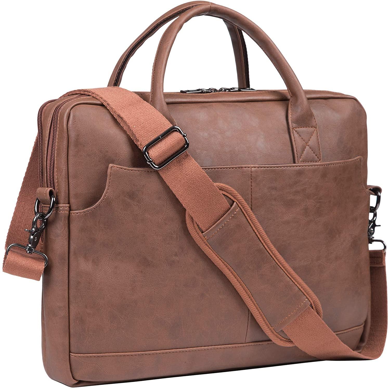 Mens Leather Messenger Bag, 15.6 Inches Laptop Briefcase Business Satchel Computer Handbag Shoulder Bag(Brown)