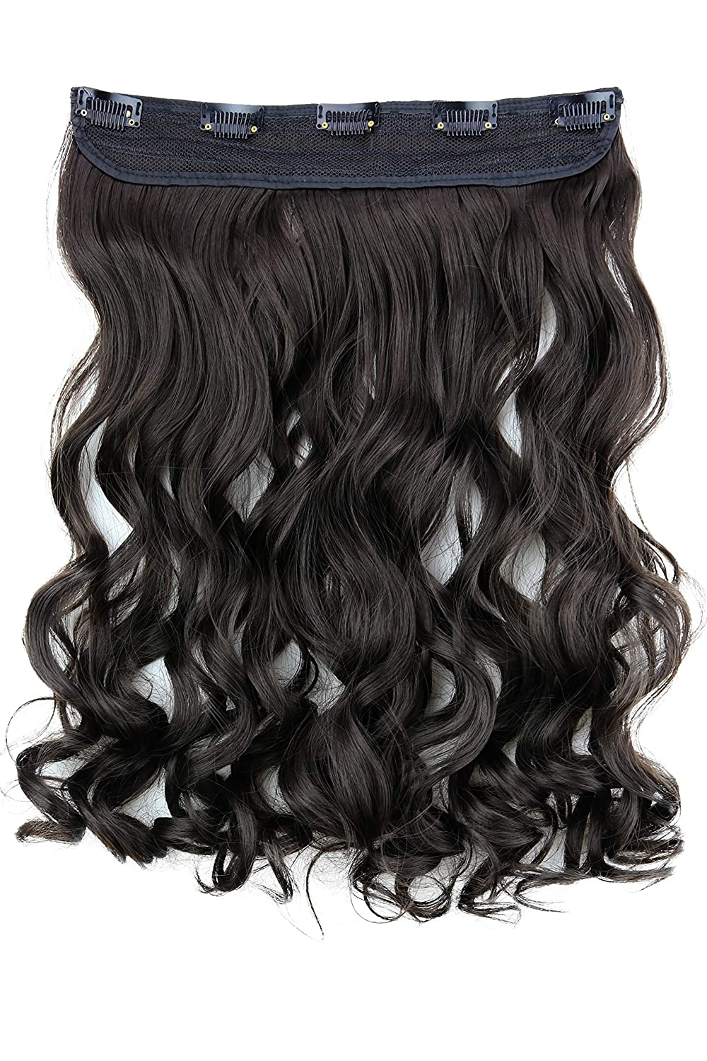 PRETTYSHOP Clip In Hair Extensions Full Head One Piece Hairpiece Wavy Heat-Resisting 22 brown #8 C53-1