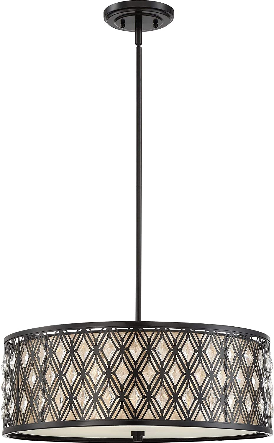 Quoizel TF6898M Grove Park Tiffany Table Lamp, 2-Light, 120 Watts, Iron with Wood Accents (24 H x 14 W)