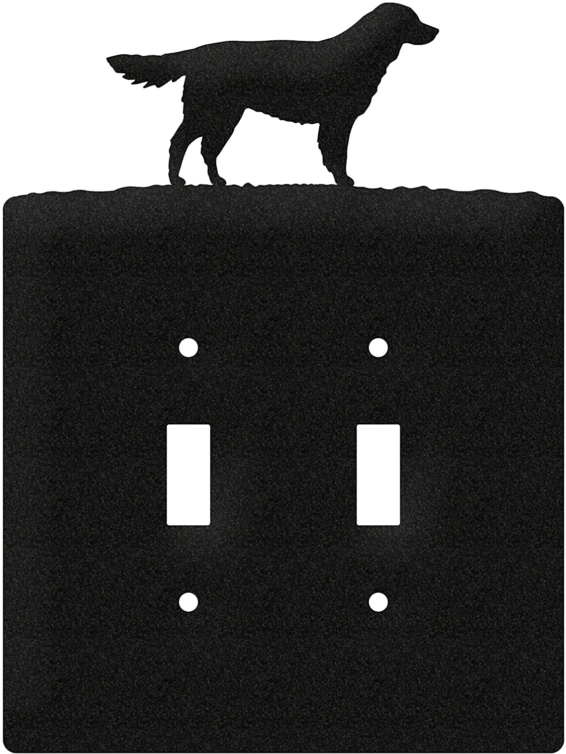 SWEN Products Golden Retriever Metal Wall Plate Cover (Double Switch, Black)