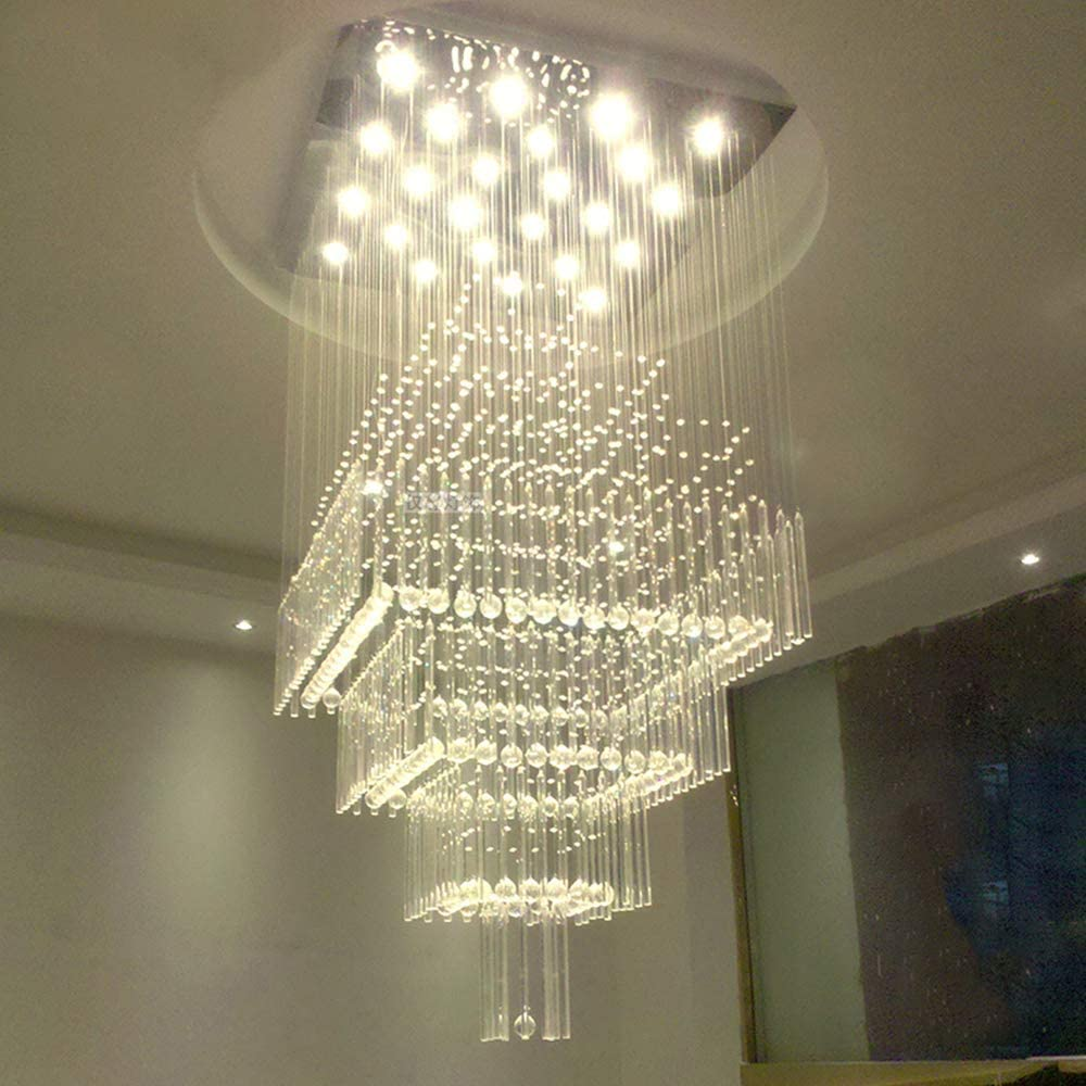 SILJOY Modern Square Raindrop Crystal Chandelier Large Flush Mount Ceiling Light Fixture for High Ceilings Staircase Foyer W31.5
