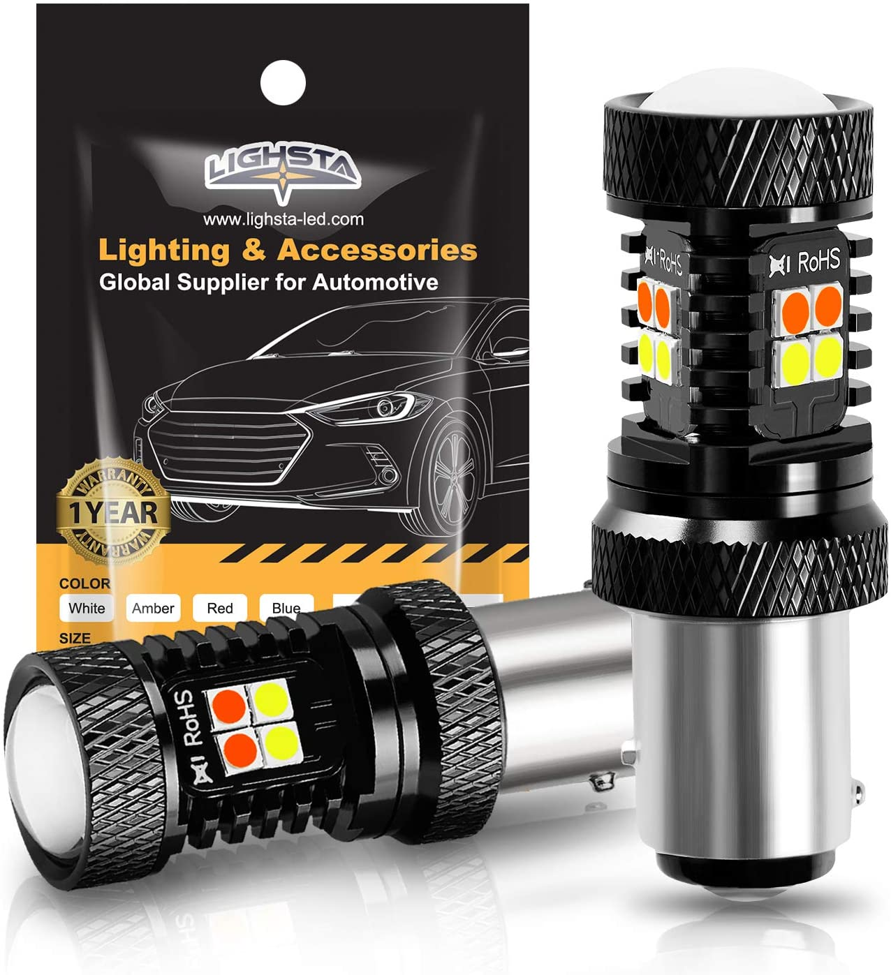 LIGHSTA 1157 2057 2357 7528 BAY15D P21/5W Switchback LED Bulbs, Extremely Bright White/Amber Yellow 3030 Chipsets with Projector for Daytime Running Lights/DRL and Turn Signal Lights(Pack of 2)