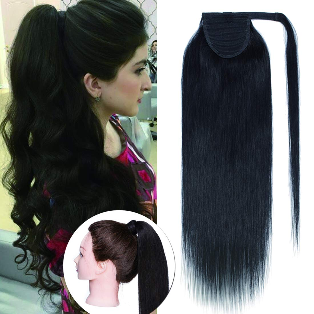 SEGO Ponytail Extension Human Hair Pony Tails Hair Extensions Wrap Around Ponytail Hair Extensions 100% Real Remy Hair With Magic Paste Long Straight For Women #1B Natual Black 95g 20 Inch