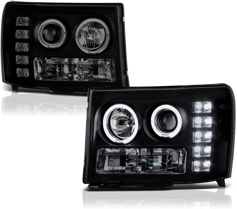 [For 2007-2013 GMC Sierra 1500 2500HD 3500HD] LED Halo Ring Black Smoke Projector Headlight Headlamp Assembly, Driver & Passenger Side