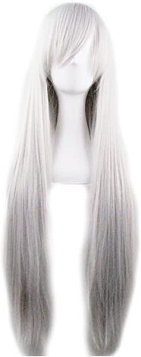 Prettybuy 40 100 Fashion Womens Cosplay Hair Wig Long Straight Hair Heat Resistant Costume Party Full Wigs (silver)