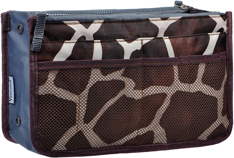 Vercord Purse Organizer Insert for Handbags Bag Organizers Inside Tote Pocketbook Women Nurse Nylon 13 Pockets Coffee Striped Medium