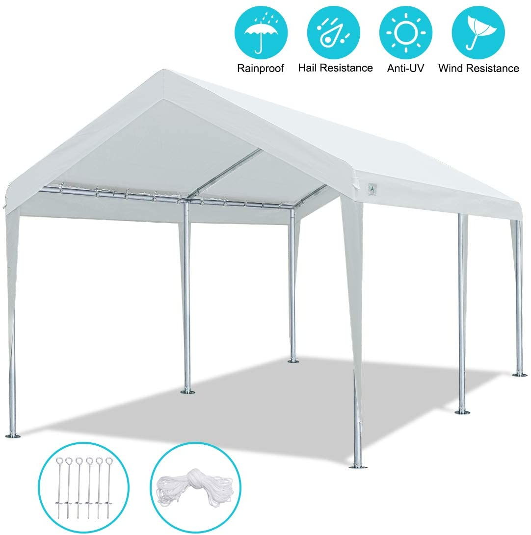 10 x 20 FT Heavy Duty Carport Car Canopy Garage Boat Shelter Party Tent, Adjustable Height from 6.5ft to 8.0ft, White