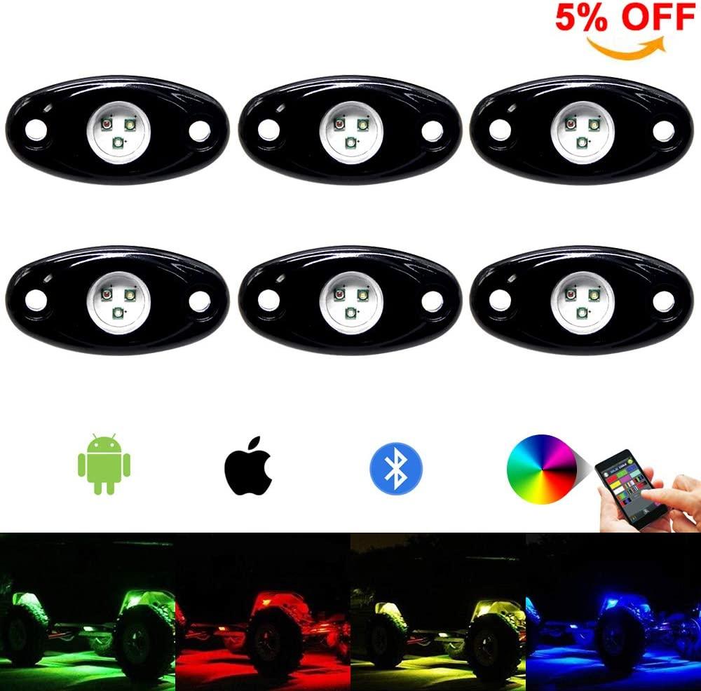 RGB Led Rock Light Kit 6pods Led Rock Lights Bluetooth 14 DIY Color 15 Turning Modes Timing Music Flashing Led Interior Wheel Neon Lights for Off Road Je-ep Truck SUV UTV ATV Motorcycle (6 pods)