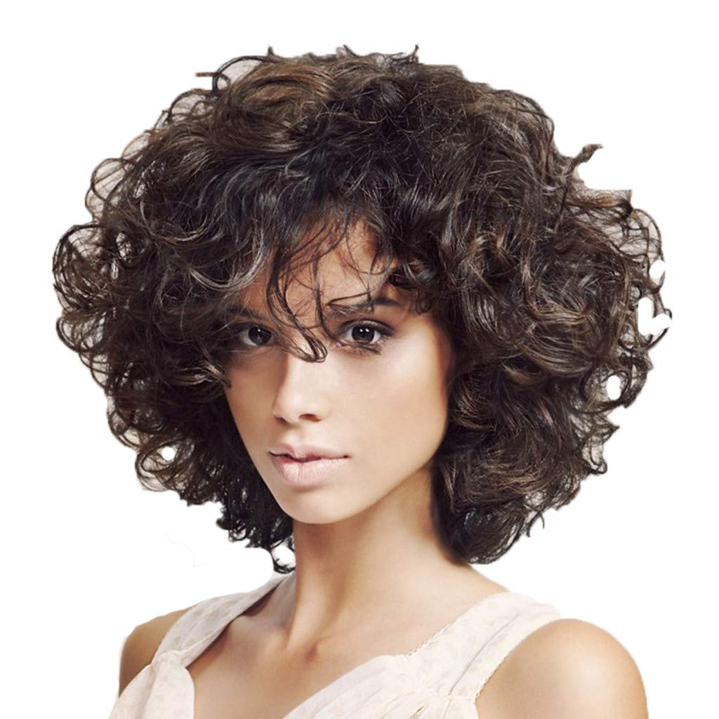 AJPJ(TM) Short Curly Wig For WomenBrazilian Girls Charming Hair Wig Ladies Black Short Afro Curly Wigs Synthetic Wig 34cm