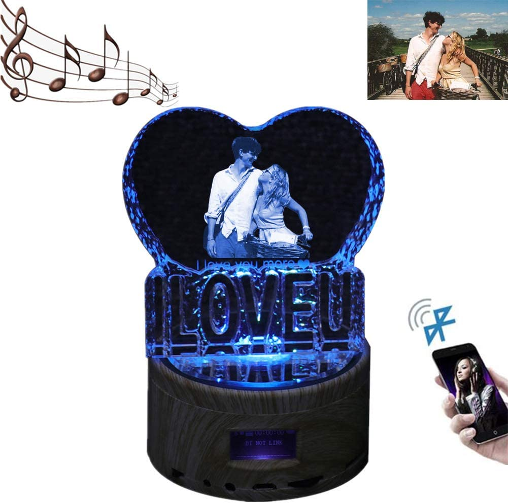 Personalized 3D Crystal Light Custom Picture Bluetooth Music Light Engraved Photo LED Lamp Anniversary for Women(I Love U 5.6 ''X3.5 ''in)