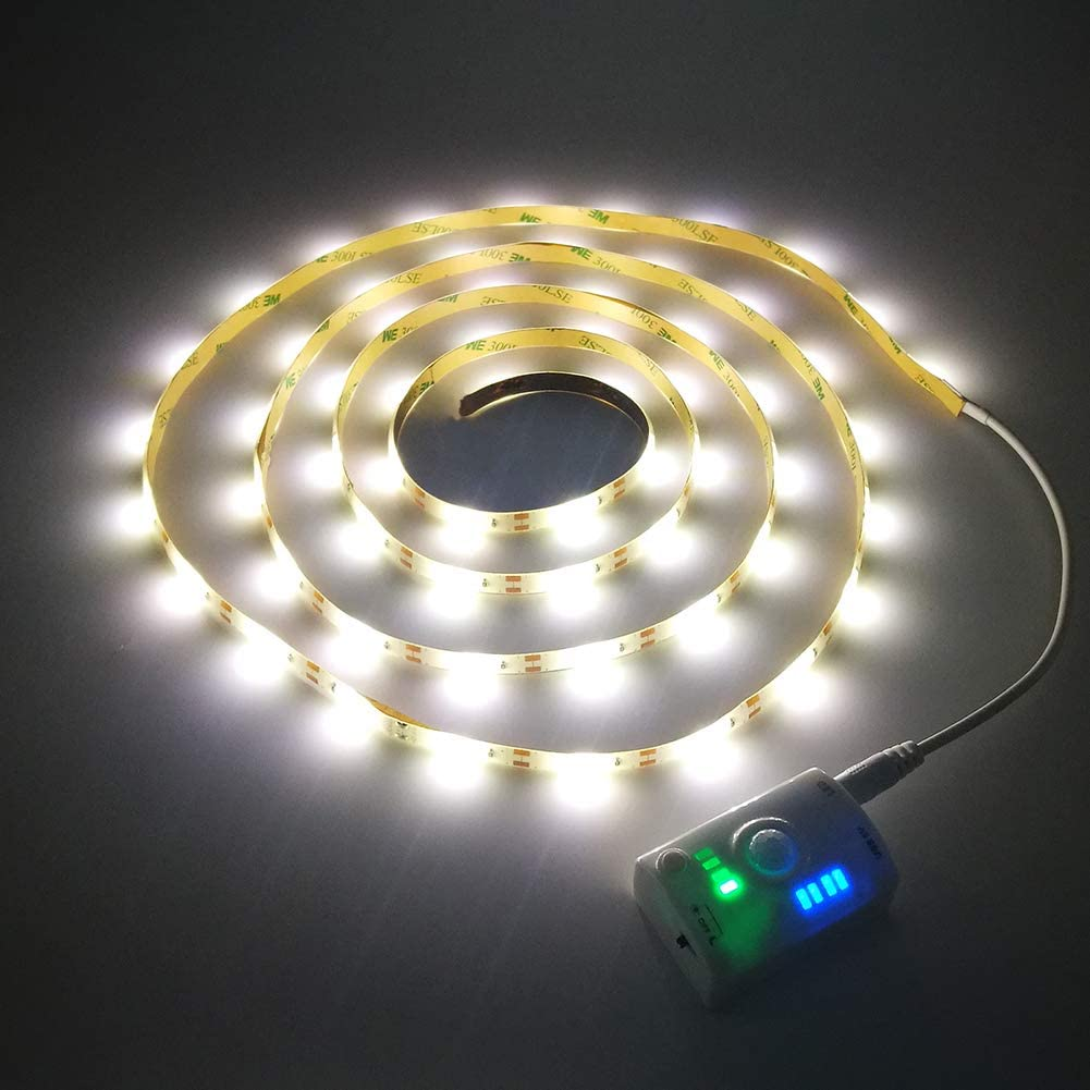 INQUIRY LED Strip Lights USB Rechargeable 6.6Ft Motion Sensor Warm White Wardrobe Under Cabinet Kitchen Closet Pantry Lighting