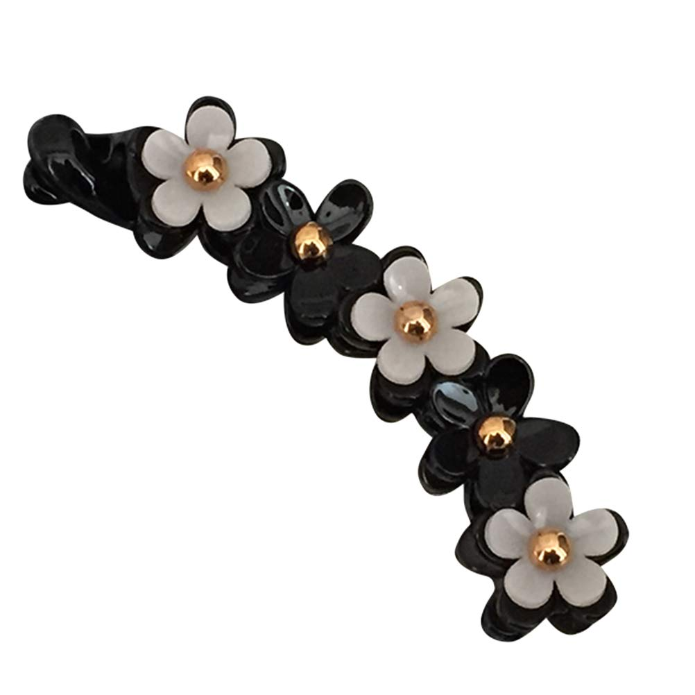 Lurrose Acrylic Banana Hair Clips Toothed Ponytail Holder Strong Tension Hair Claw Flower Barrette for Women Girls,Black