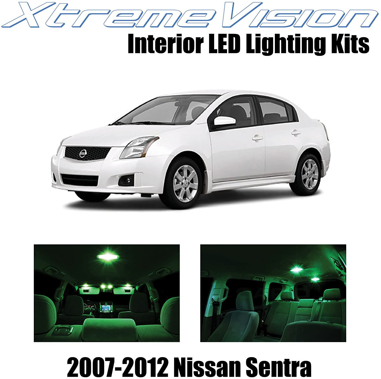 Xtremevision Interior LED for Nissan Sentra 2007-2012 (6 Pieces) Green Interior LED Kit + Installation Tool
