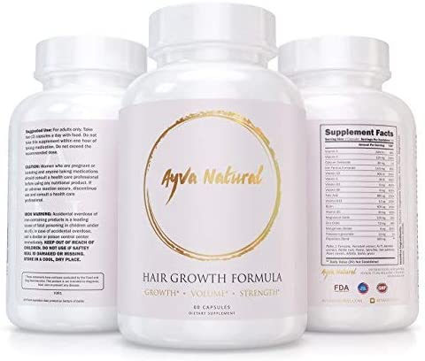 Ayva Natural Hair Growth Vitamins for Longer, Stronger, Frizz-Free, Healthier Hair - Scientifically Formulated with Biotin, Keratin for All Hair Types