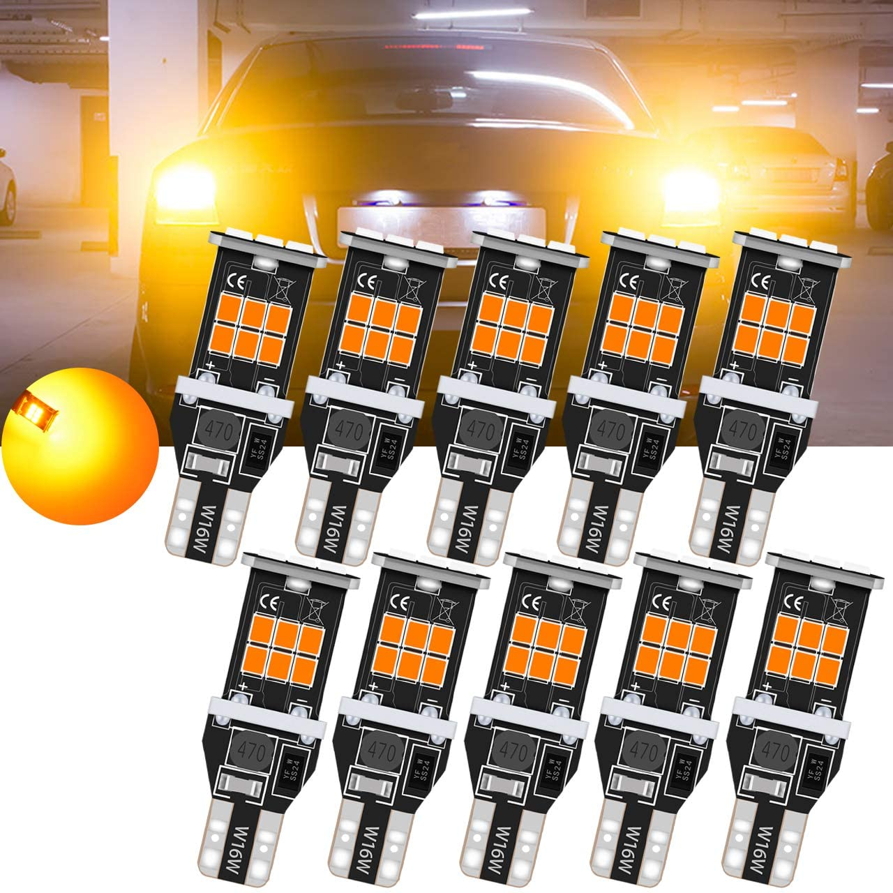 TUINCYN T15 912 921 LED Backup Reverse Light Bulbs Amber Yellow CANBUS Error Free Extremely Bright W16W 906 2835 Back Up Light 2835 15SMD Wedge LED Backing Up Light Bulb(Pack of 10)