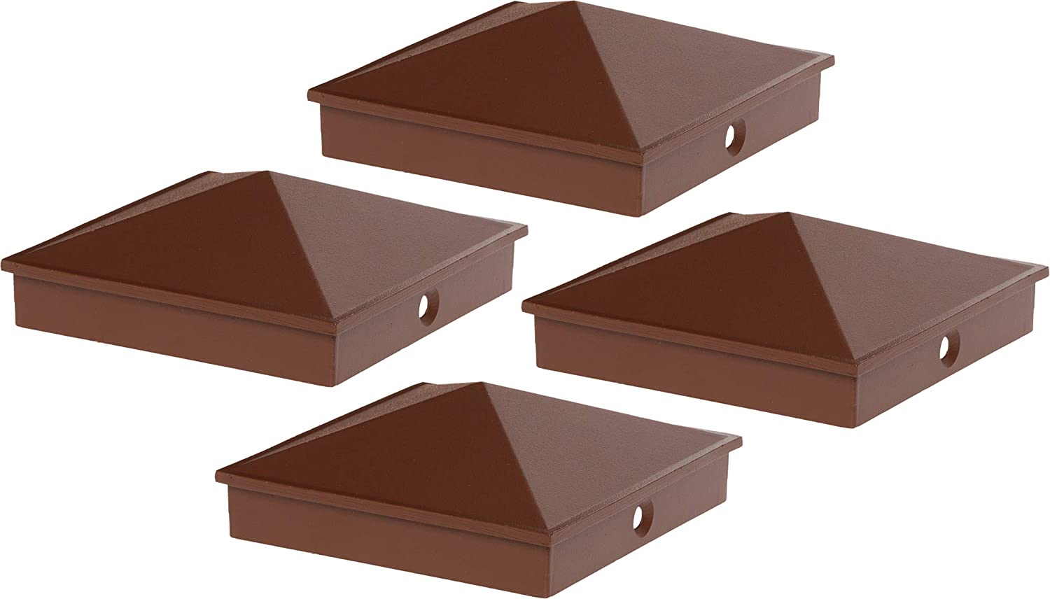 GreenLighting 4x4 Aluminum Pyramid Post Cap Cover for Nominal Wood Posts (Brown, 4 Pack)