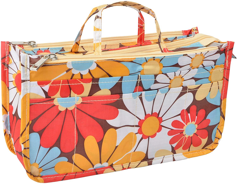 Vercord Patterned Purse Handbag Tote Pocketbook Bag Organizer Insert with Zipper Handle for Women Daisy Medium