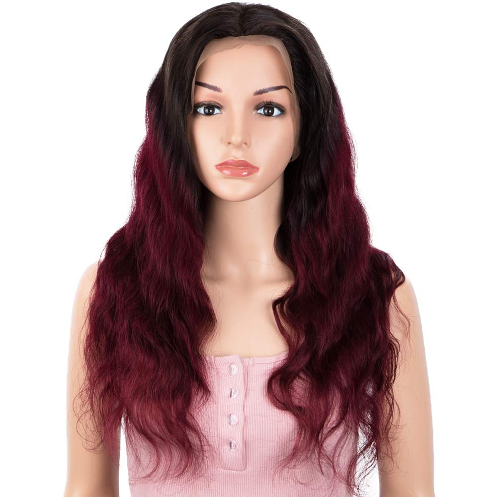 SPOTLIGHT 13x4 Lace Frontal Wigs Human Hair Ombre Red Human Hair Wigs Body Wave Lace Front Wigs with Baby Hair for Black Women 150% Density (T1B/99J Color, 20 INCH)
