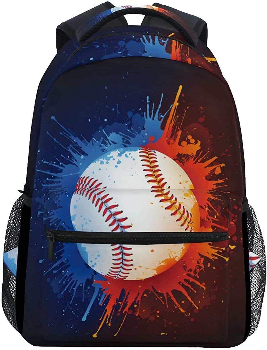 Black Watercolor Baseball Backpack School Bookbag Rucksack Shoulder Book Bag for Boys Girls Women Travel Daypacks
