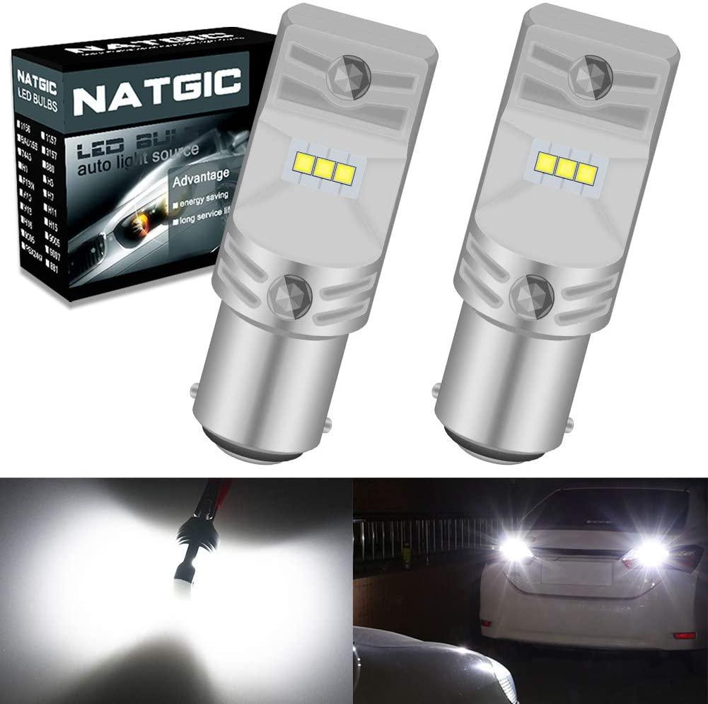 NATGIC BA15D 1157 1142 1076 1176 LED Bulbs 1700LM 6500K CSP LED Chipsets for Backup Reverse Lights, Tail Lights, Brake Lights, Parking Lights, 12V-24V, Xenon White (Pack of 2)
