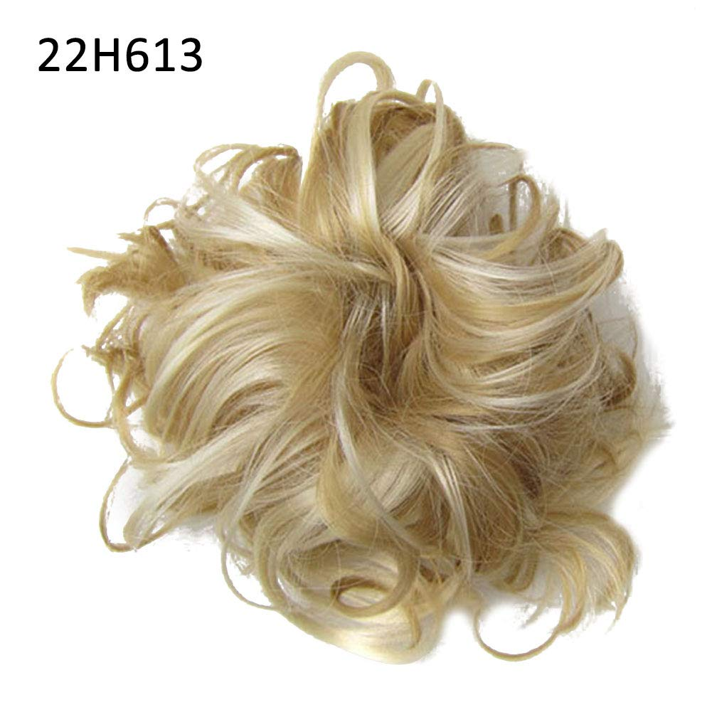ManFull Hairpiece Fake Hair Wig,Women Thick Messy Curly Hair Bun Extension Scunchie Updo Cover Chignon Hairpiece 22H613