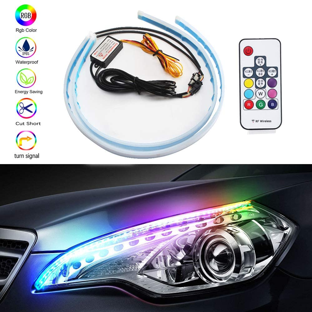 Car LED Strip Lights 2 Pcs 17-inch RGB Waterproof Daytime Running Lights and Turn Signal Lamp for Automobile Headlight Surface Accessories