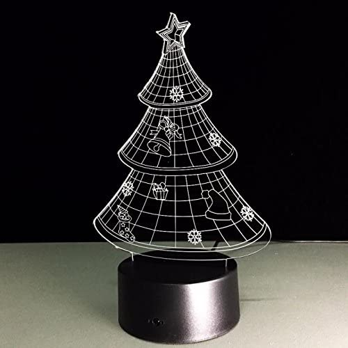 Fat.chou Optical Illusion 3D Novelty Christmas Tree Light Decoration 3D Night Light Table Desk Optical Illusion Lamps 7 Color Changing Lights