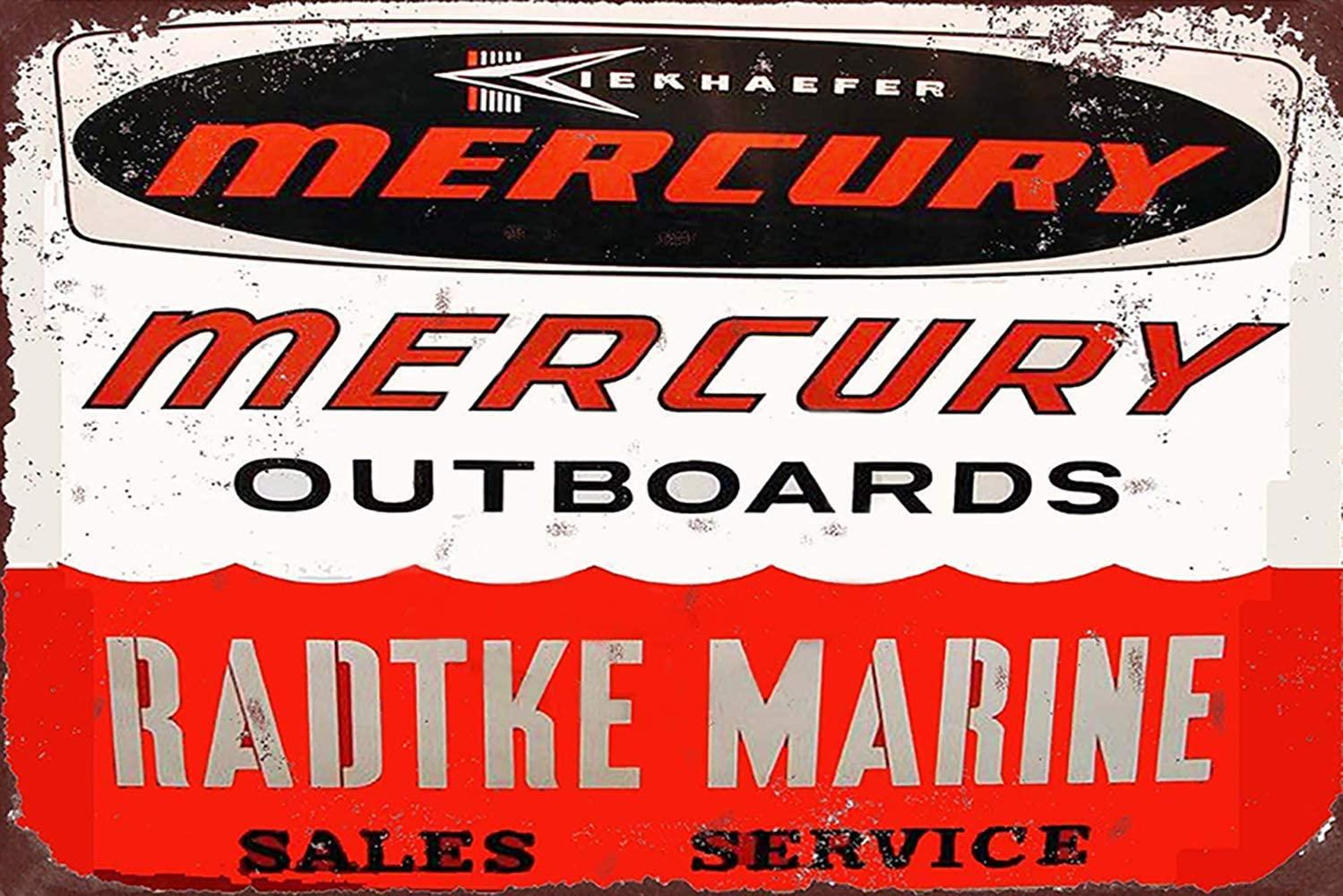 Jesiceny New Tin Sign Radtke Marine Mercury Outboards Vintage Look Aluminum Metal Sign 8x12 Inches
