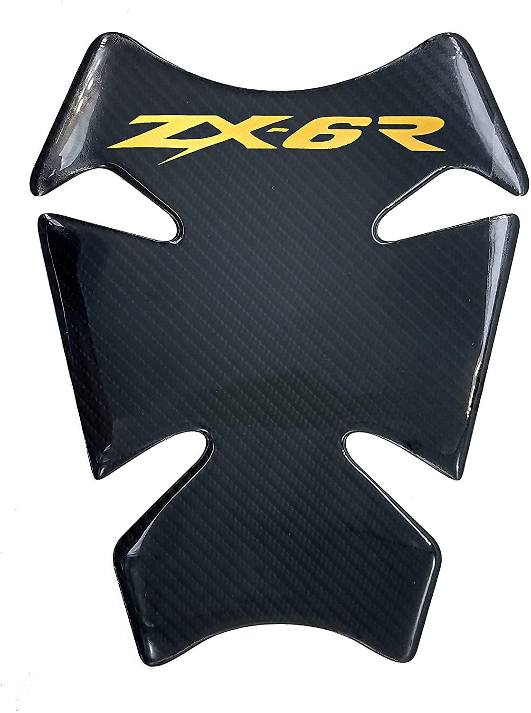 8.7 inches Real Carbon Fiber 3D Gold Sticker Vinyl Decal Emblem Protection Gas Tank Pad For Kawasaki Ninja ZX6R 636