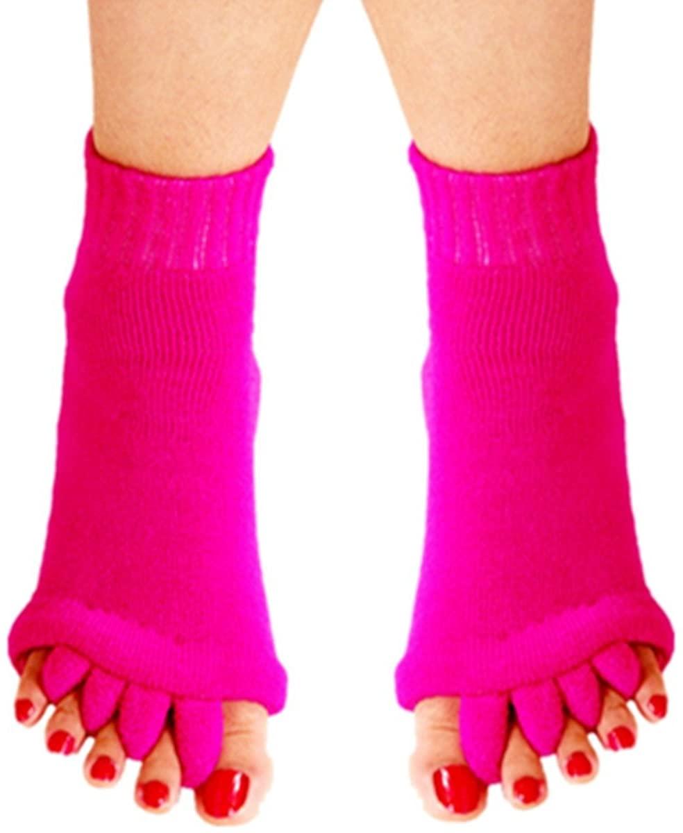 RockWearZ Alignment Socks Foot & Toes Massage Toe Separator Spacer Relaxing Stretch Tendon Pain Relief Yoga Sports Gym Five Toe Separator Socks (Rosepink - 1 Pair)