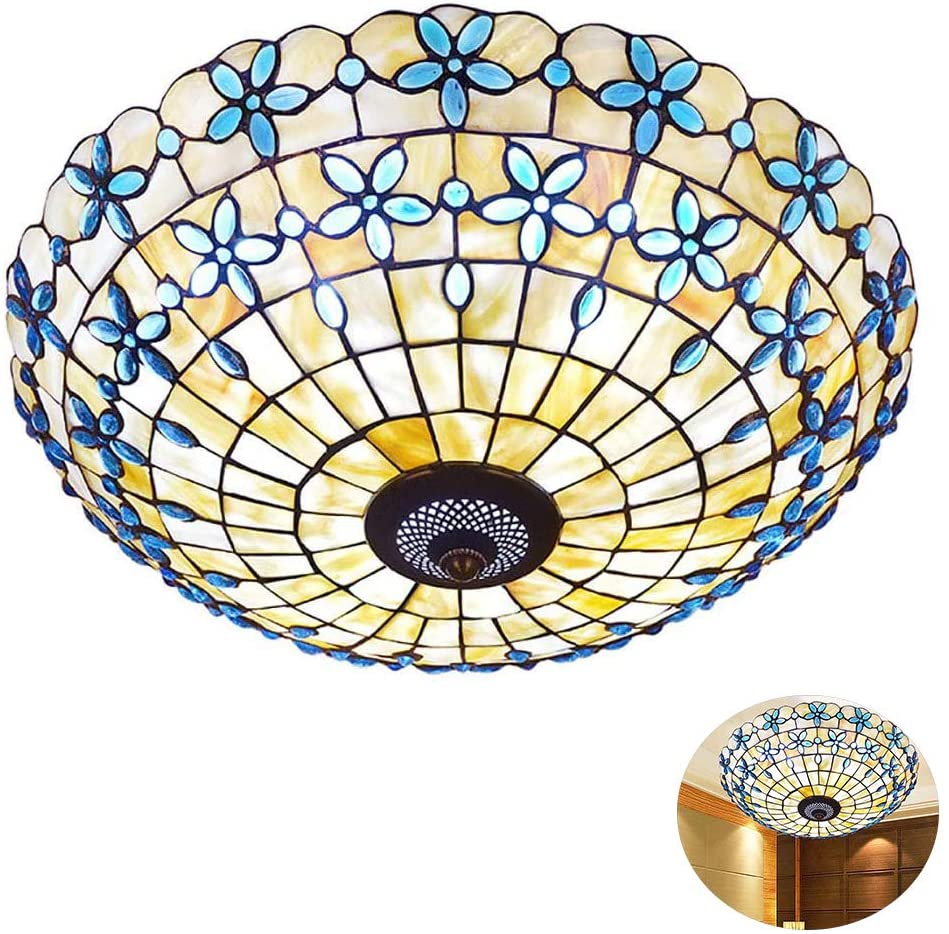 Creative Tiffany Style Ceiling Lamp,Tiffany Style Rural Style Ceiling Light, Stained Glass Lamp Shade Flush Mount Ceiling Lamp,for Dining Room, Living Room,16inch