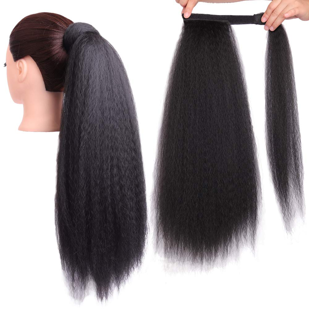 Yaki Ponytail Extension Synthetic Magic Paste Heat Resistant Afro Kinky Straight Synthetic Wrap Around Ponytail Clip In Hairpiece Corn Wave Ponytail 22 Inch 100g (22 inch, 1B#)