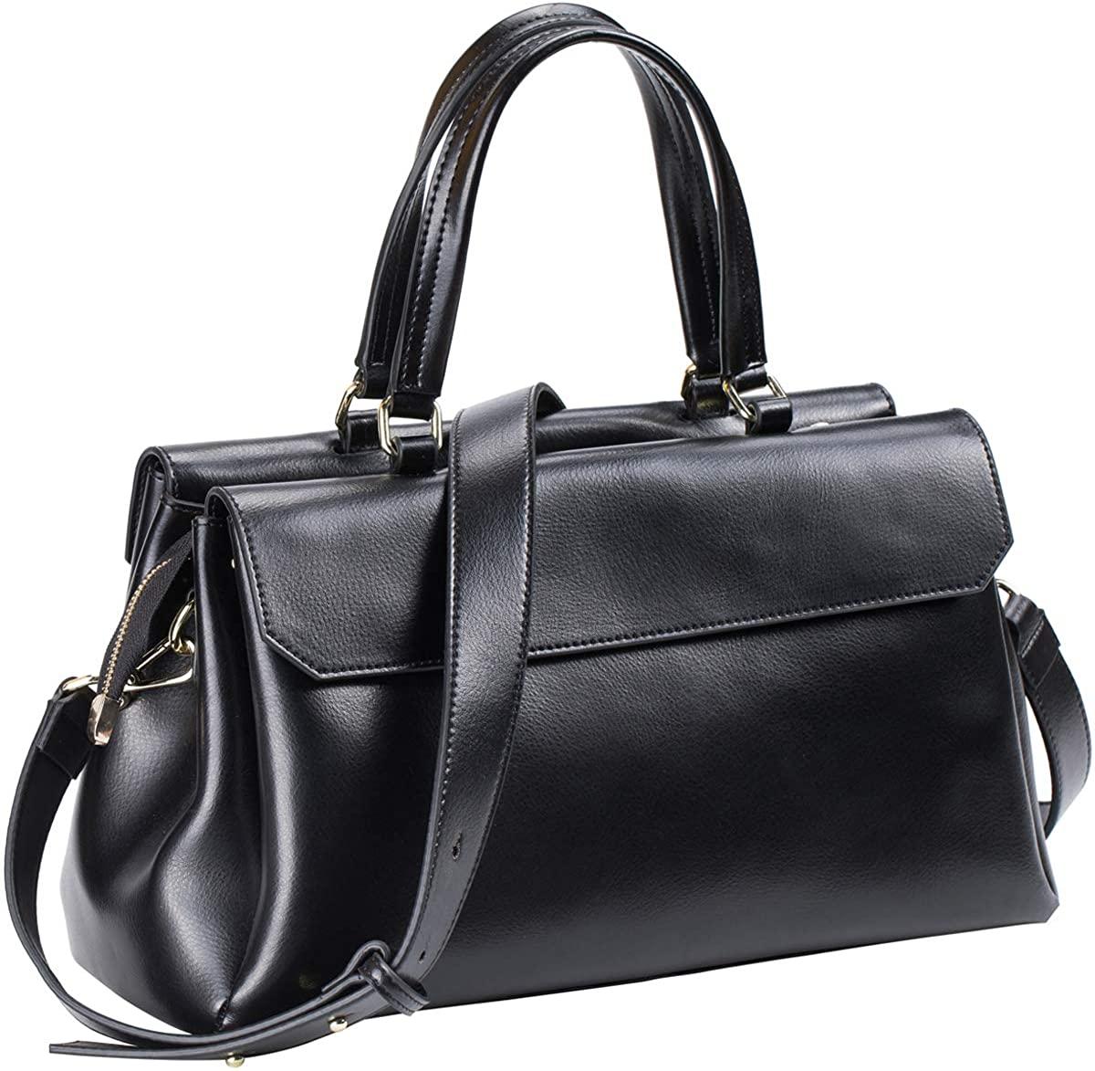 Genuine Leather Handbags for Women Top Handle Satchel Purse Shoulder Bag Vegan Zip Crossbody Bag