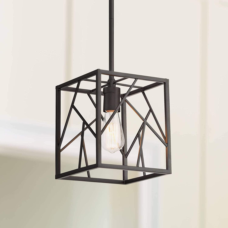 Trevino 8 Wide Oiled Bronze Caged Mini Pendant Light - Possini Euro Design