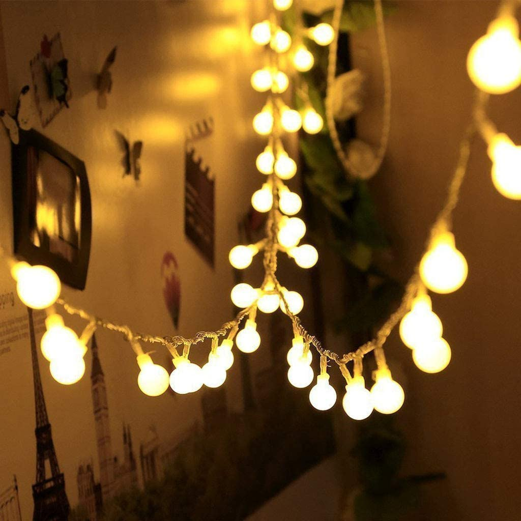 BKOQICK Battery Powered LED Globe String Lights Ball Fairy Lights with Remote, 32.8ft 80 LED 8-Mode Twinkle Lights with Timer, Indoor Outdoor Decorative Hanging Lights for Bedroom, Kids Room, Dorm