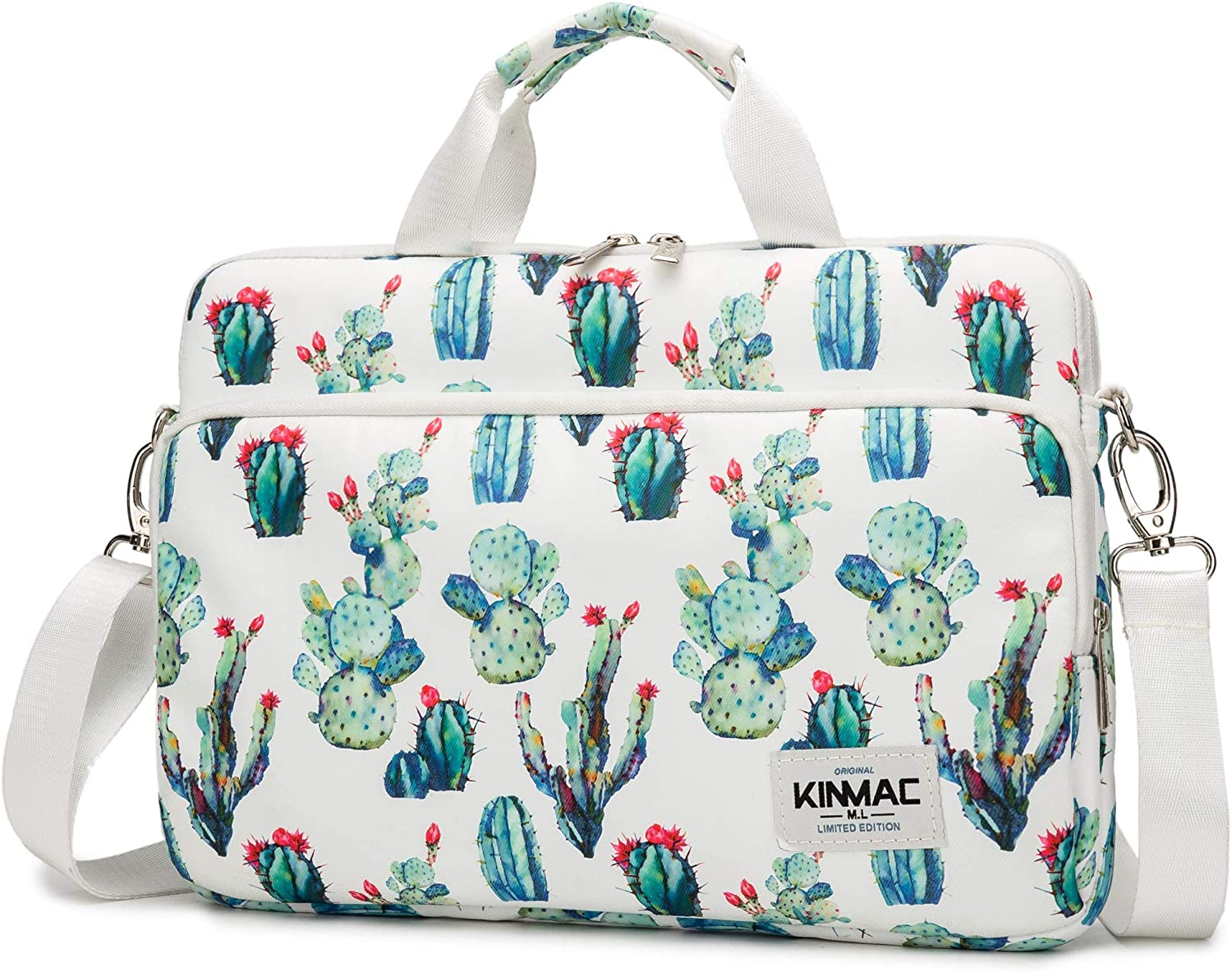 Kinmac 360° Protective Water Resistant Laptop Sleeve Bag Case with Handle and Detachable Shoulder (14 inch, Cactus)