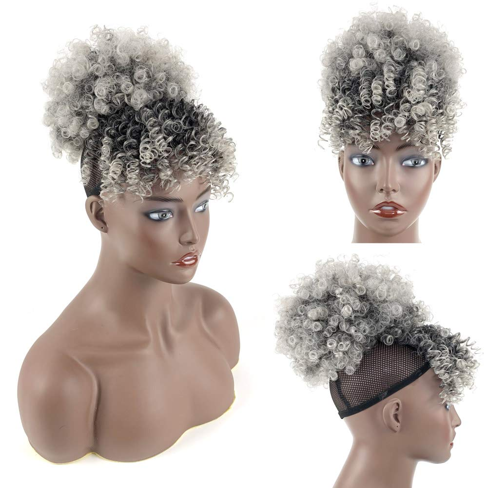 Gray Afro Puff Drawstring Ponytail With Bangs Afro High Puff Bun with Bangs Afro Kinky Curly Drawstring Ponytail Hair Extensions for Women
