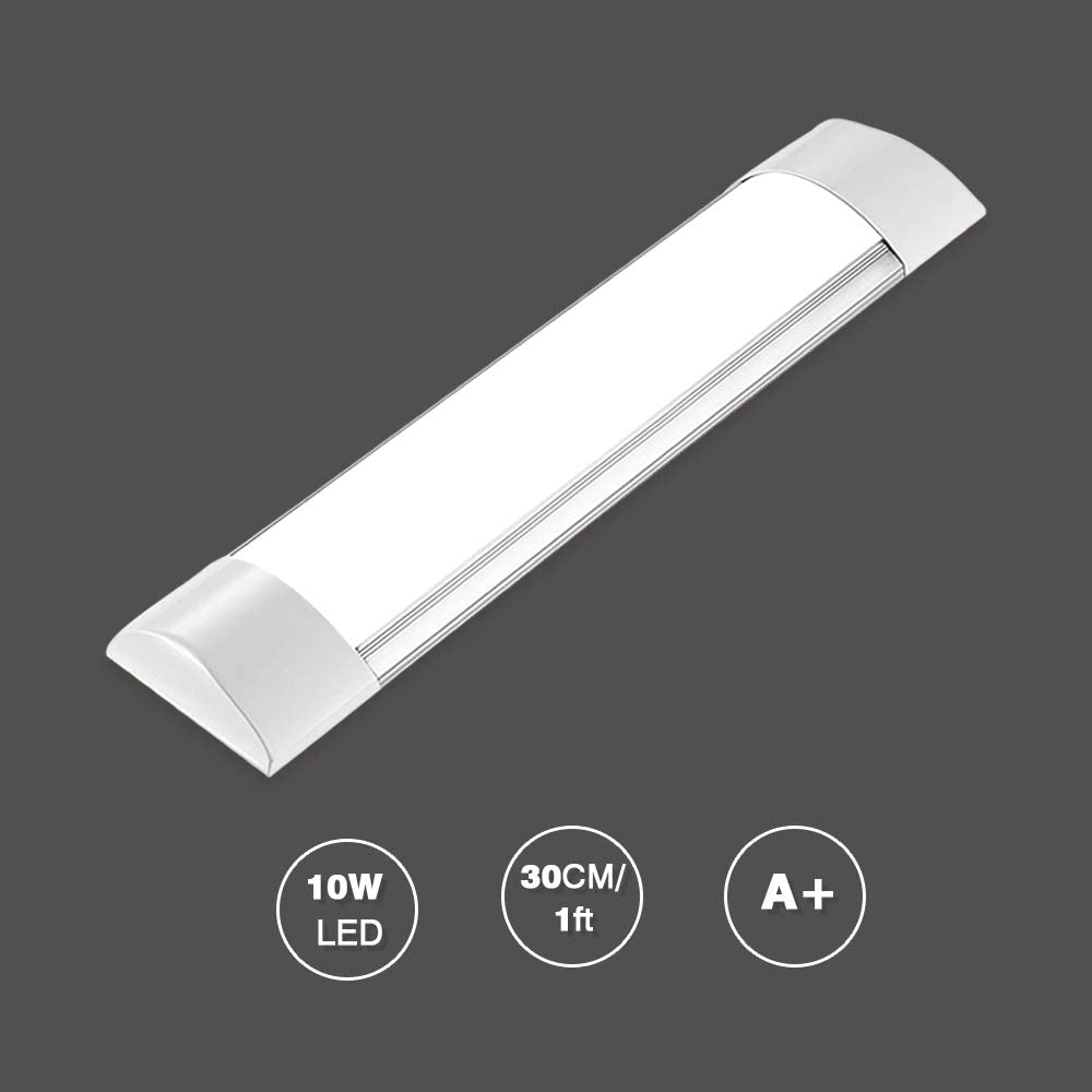 Papasbox 1ft LED Shop Light Fixture,10W LED Tube Ceiling Light 1200LM,4500K Neutral White, 11.8inch LED Batten Light LED Tube Light for Home Garage Warehouse Office-1pack
