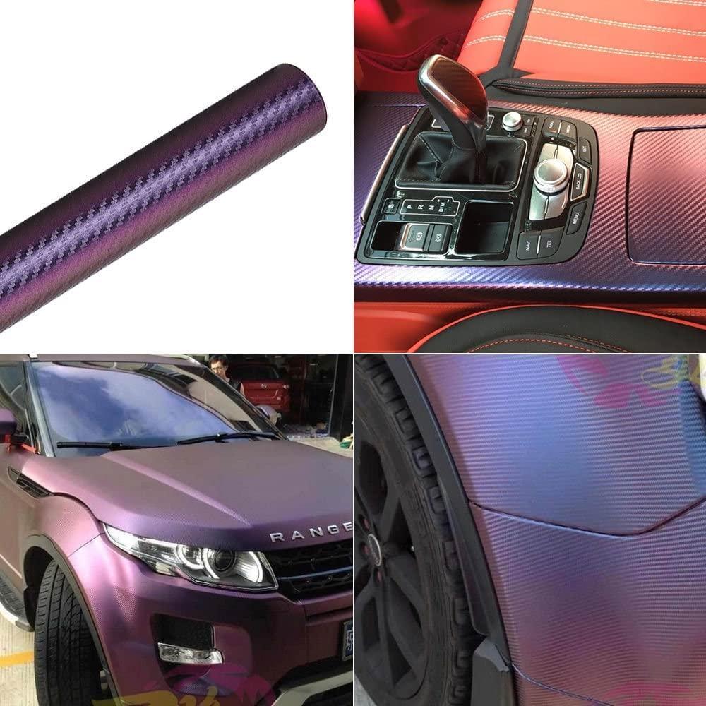 ATMOMO Purple and Blue Car Chameleon Wrap Auto Carbon Fiber Wrapping Film Vehicle Change Color Sticker Tint Vinyl Air Bubble Free (20cm x 30cm)