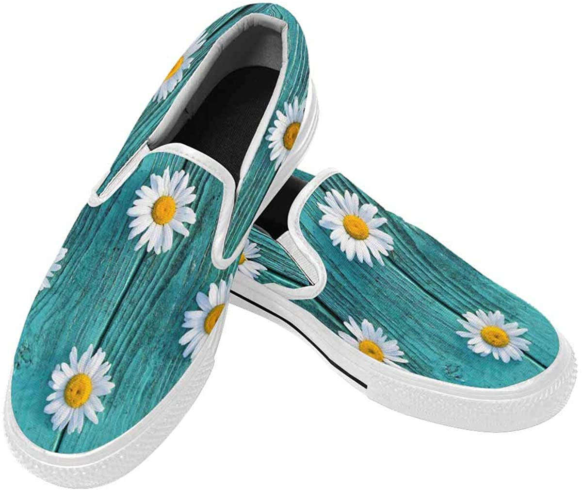 InterestPrint Slip-On Loafers Casual Shoes Breathable Canvas Lightweight Walking Shoes for Men White Wildflowers Daisies