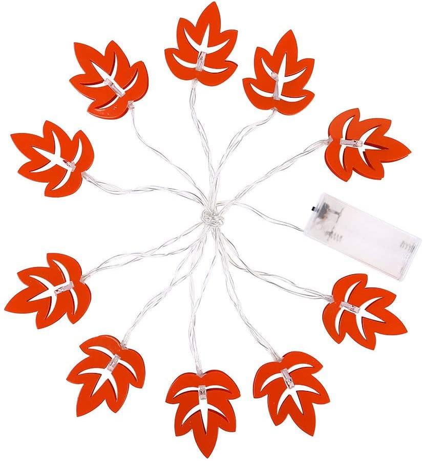 miaomiaoke 10 LED Metal Lampshade Bedroom Christmas Maple Leaf Decoration Light String 2m