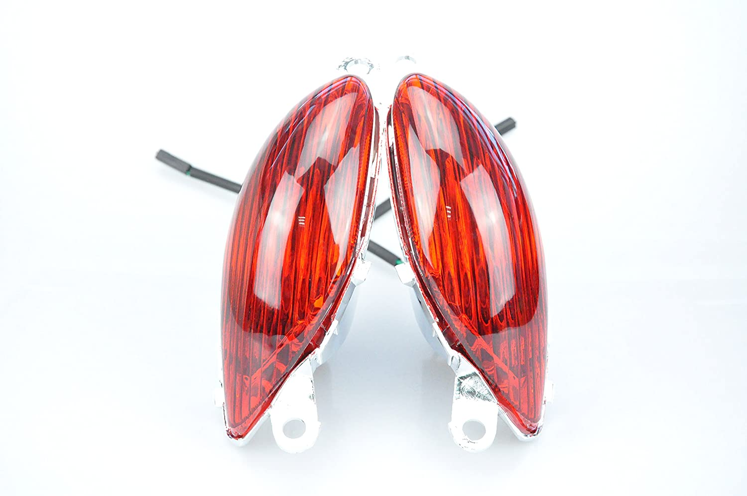 Bright Motorcycle Front Turn Signals for SUZUKI 99-07 GSXR1300 with Bulbs, Red Striped