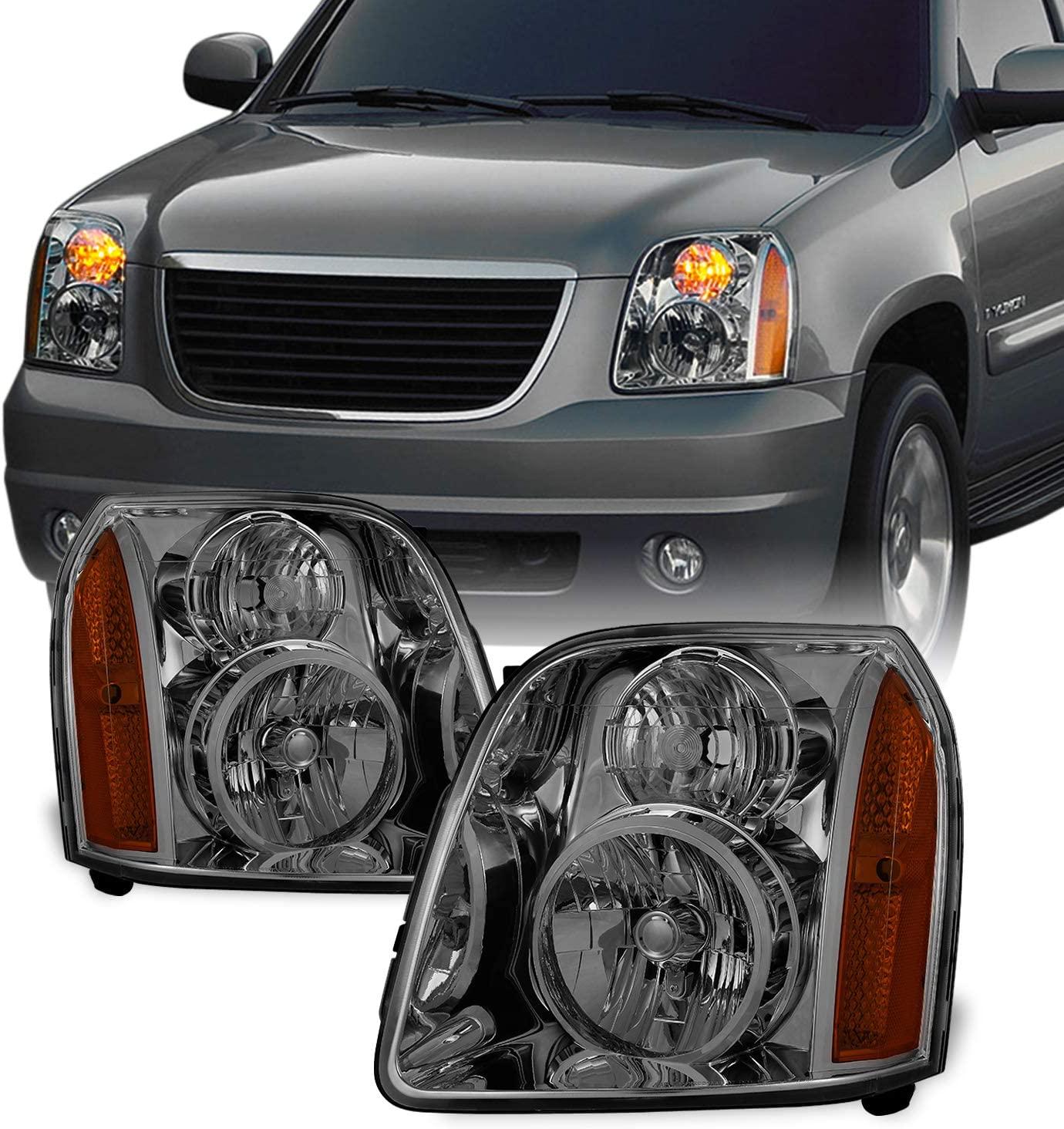 For GMC Yukon XL Hybrid OE Replacement Smoke Bezel Headlights Driver/Passenger Head Lamps Pair