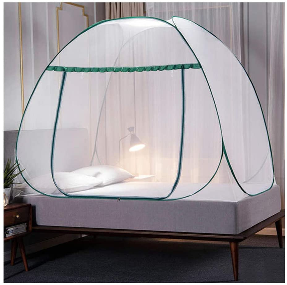 Aslion Portable Travel Mosquito Net, Pops-Up Mosquito Net Tent for Beds Anti Mosquito Bites Folding Design with Full Bottom for Camping Travel Home Outdoor (Dark Green,1.8m)
