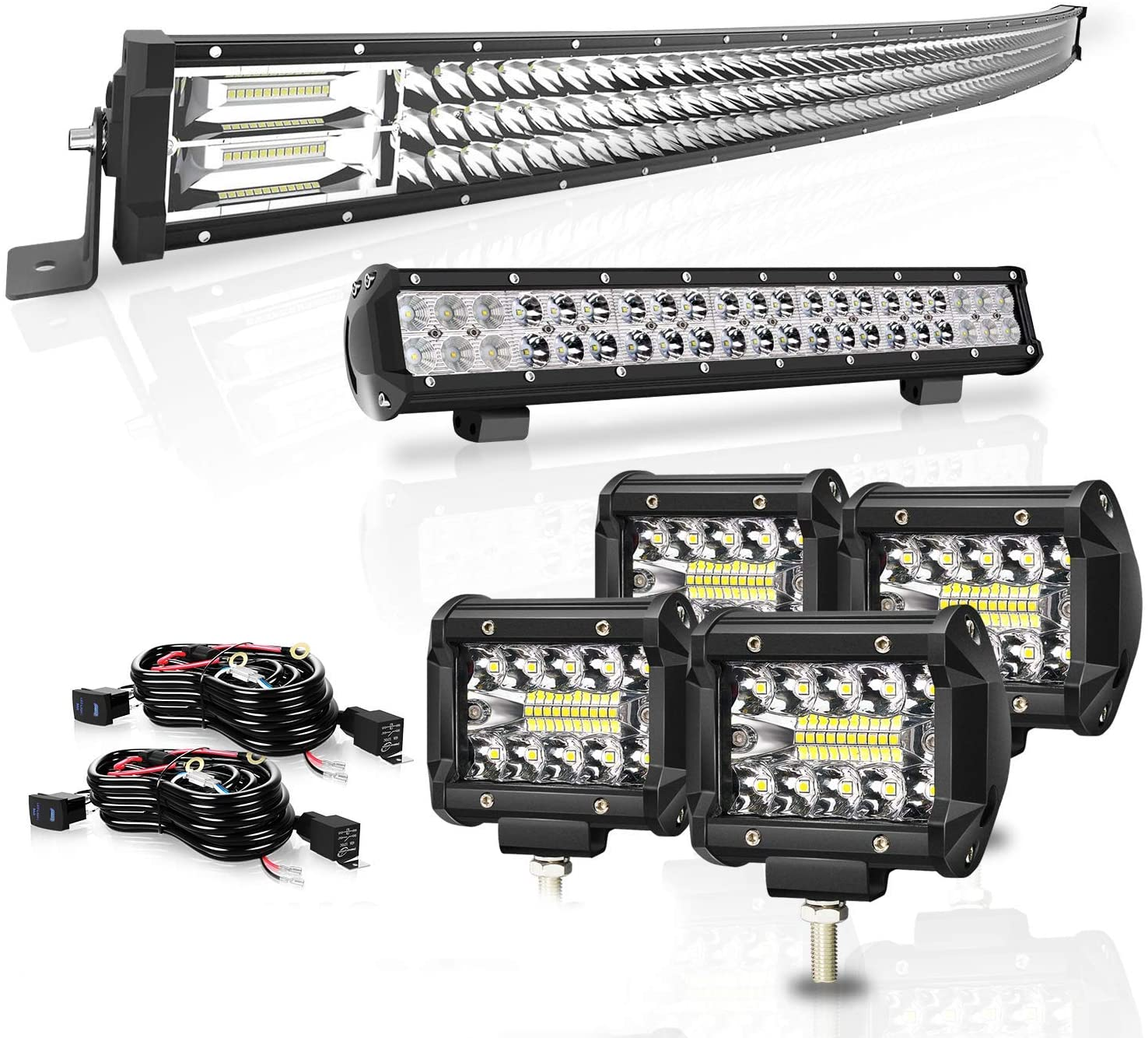Led Light Bar 42 Inch 576W Curved Triple Row +20 Inch 126W Spot Flood Combo Beam Light bars 4Pcs 4 Inch 60W Led Fog Lights W/Rocker Switch Wiring Harness for Jeep Trucks ATV UTV Polaris Boats