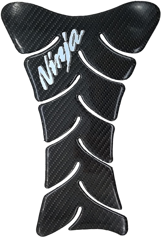9.8 inches Real Carbon Fiber Chrome 3D Sticker Vinyl Decal Emblem Protection Gas Tank Pad for Kawasaki All Ninja