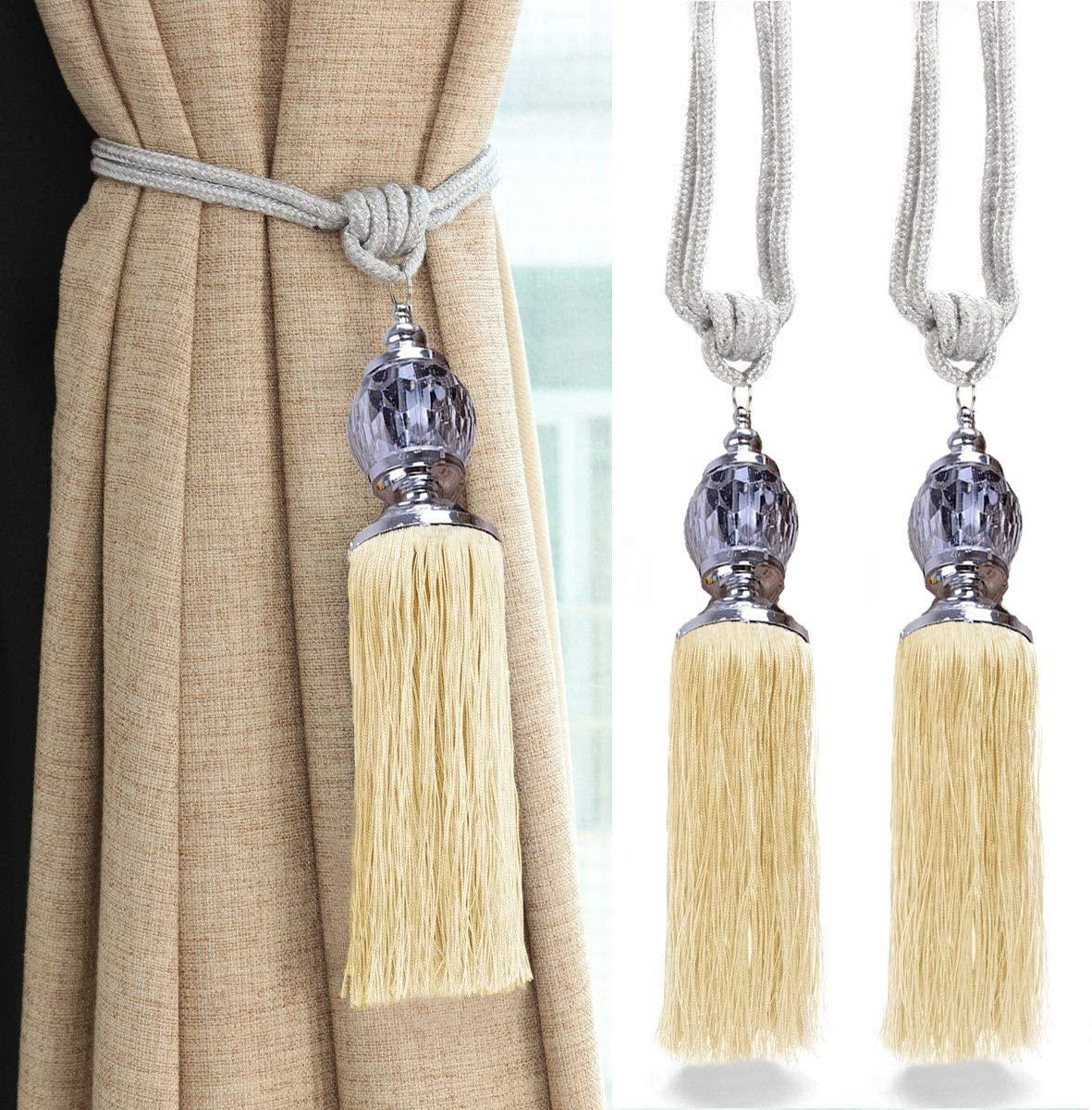 goowrom Crystal Beaded Curtain Tie Back 2pcs Tassel Tie Backs for Curtain Beautiful Curtain Holdback Rope(Light Jade)